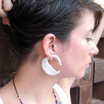 White Bone Swan Tribal Earrings OGE-002