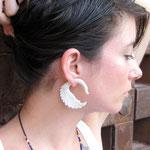 White Bone Swan Tribal Earrings OGE-002