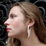 White Wood Flower Circle Drops Tribal Earrings OGE-009