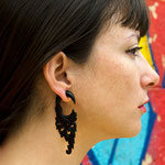 Black Wood Flower Circle Drops Tribal Earrings OGE-010