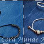 Showleine 80 cm mit integrierter Halsung, Kehlkopfschutz und Aluminium Perlen. Mit Kordelstopp feststellbar. Farben:  Black, White und Silver Diamond