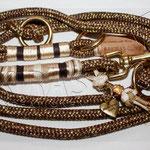 Halsband und Leine PPM Golden Earth, Takelung Satinband, gewachste Baumwolle und Paracord Typ 1