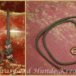 Showleine 80 cm, Farbe Gold Diamond mit kleinem Messing Karabiner und Strassperlen