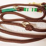 Leine PPM Brown, 2 m 3 fach verstellbar, Takelung Leder, gewachste Baumwolle und Paracord Typ 1