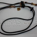 Showleine - Leder schwarz, 110 cm inkl. Halsung, Pfötchen kupfer und Rondelle Gold