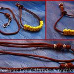 Showleine 80 cm mit separater Halsung, Kehlkopfschutz und Strassperlen. Halsung mit Kordelstopp feststellbar. Farben: Rust und Neon Yellow