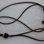 Showleine - Leder dunkelbraun, 80 cm inkl. Halsung, Perlen Strass und Rondelle Gold