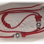 Showleine 110 cm mit integrierter Halsung, Kehlkopfschutz, Strass- und Glasperlen. Mit Kordelstopp feststellbar. Farbe Diamond Red