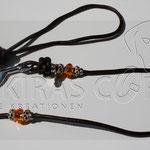 Showleine - Leder dunkelbraun, 60 cm, Perlen Glas und Strass