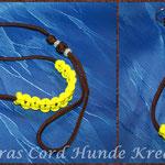 Showleine 80 cm mit separater Halsung, Kehlkopfschutz und Strassperlen. Halsung mit Kordelstopp feststellbar. Farben: Walnut und Neon Yellow