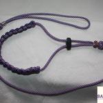 Showleine 80 cm mit integrierter Halsung, Kehlkopfschutz und Strassperlen. Mit Kordelstopp feststellbar. Farben: Acid Purple und Acid Purple Silver Diamond