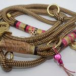 Leine PPM Gold, 2 m 3fach verstellbar, Takelung gewachste Baumwolle und Deko-Glitzerband