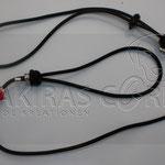 Showleine - Leder dunkelbraun 80 cm inkl. Halsung, Perlen Glas und Strass
