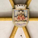 """4. Schlussstein im Gewölbe """"altes Wappen von Landeck!"""""""