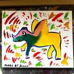 Acrylmalerei aus einem Malworkshop mit Schülern und Austauschschülern