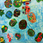 Gesamtkunstwerk aus dem Schulprojekt 'Fantastische Inselwelt'