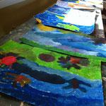 Acrylmalereien aus dem Workshop 'Malen, wie die großen Künstler'