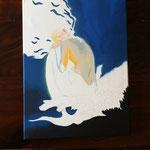enstehende Acrylmalerei im Workshop 'Acrylmalerei auf Leinwand'