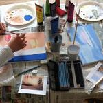 Porträt und Landschaft aus dem Workshop 'Acrylmalerei auf Leinwand'