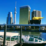 View from Azumabashi Bridge, Sumida River, Asakusa.
