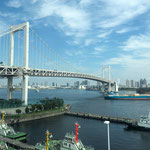 View of Rainbow Bridge from a Window of Yurikamome Monorail.