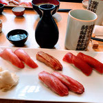 Tuna Sushi Set and Sake at My Favorite Sushi Restaurant in Tsukiji Fish Market.