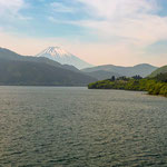 From a Cruise Ship on Lake Ashi with Mount Fuji.