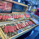Skewers of A5, Best-Graded Wagyu, Japanese Beef in Tsukiji Fish Market.