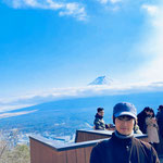 At Lake Kawaguchiko with a good view of Mount Fuji.
