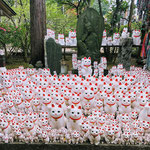 Hundreds of Cat Statues at Gotokuji Tample that Claims the Origin of Lucky Cats, Setagaya.