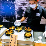 Selling Sea Urchin at Tsukiji Fish Market.
