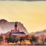 © Maike Stellbrink, Kloster Andechs mit Alpen, Herbst