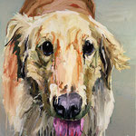 Willie (Golden Retriever), 1997 Oil on canvas, 26 x 26 inches