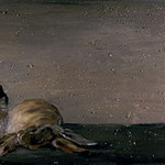 Two Rabbits and a Dead Rabbit, 2004 Oil on canvas, 16 x 42 inches