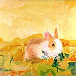 Bunny in Yellow Leaves, 2003 Oil on canvas, 16 x 30 inches