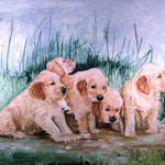 Cider, Molson, Daisy, Scooter, and Grace, 1996 Oil on canvas, 48 x 64 inches
