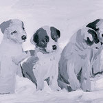 Puppies (Shackleton), 2000 Oil on canvas, 16 x 20 inches