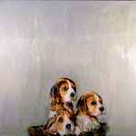 Sophie, Jack, and Molly, 1996 Oil on canvas, 40 x 40 inches