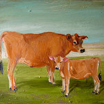 Cow and Calf, 2002 Oil on canvas, 16 x 20 inches