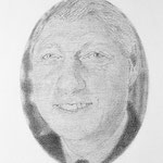 Clinton (Oval), 2002 Graphite on paper, 19 11/1 x 12 5/8 inches