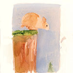 Bunny on a Cliff, 2004 Watercolor on paper,  9 3/4 x 8 1/4 inches