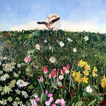 Rabbit on Flowering Hillside, 2003 Oil on canvas, 40 x 40 inches