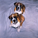 Astro and Dino, 1996 Oil on canvas, 40 x 40 inches