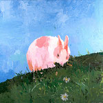 Bunny on a Hill, 2003 Oil on canvas, 26 x 26 inches