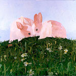 Two Bunnies on a Hill, 2003 Oil on canvas, 24 x 30 inches