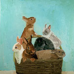 Basket of Bunnies, 2004 Oil on canvas, 26 x 24 inches