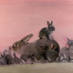 Mother Rabbit and Kittens, 2004 Oil on canvas, 24 x 30 inches