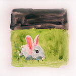 Rabbit on Black + Green, 2004 Watercolor on vellum, 7 x 8 1/2 inches