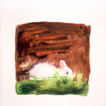 Rabbit on Brown + Green, 2004 Watercolor on vellum, 8 1/2 x 7 inches