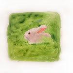 White Bunny on Green Field, 2004 Watercolor on vellum, 7 x 8 1/2 inches